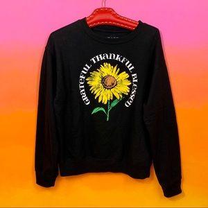 awake • black yellow sunflower print sweatshirt m